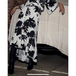 NEW Zara Linen Floral Ruffle Belted Midi Skirt